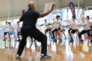 3 times NBA Champion Bruce Bowen leading the drills at the Jr NBA clinic Charity Bounce
