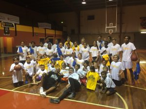 The Stand Tall and Eat Strong Play Strong participants with Chef Sean Connolly and NBL legend Cal Bruton in 2016.