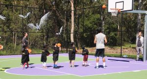 Children learning how to Stand Tall on the Abel Dunn Court in Warwick Farm.