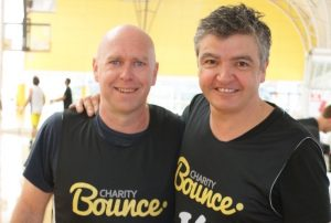 These 2 may not be Legends on the court but played their part on the day. Charity bounce CEO Ian Heininger and Celebrity Chef Sean Connolly preparing for their showdown.