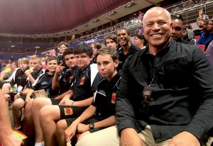 Steve Carfino dropped by to say hello to the Aboriginal young men from Port Macquarie.