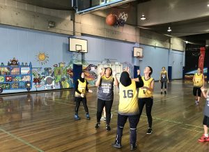 The Charity Bounce Stand Tall All Stars in training for the Sydney Schools Shootout Tournament.