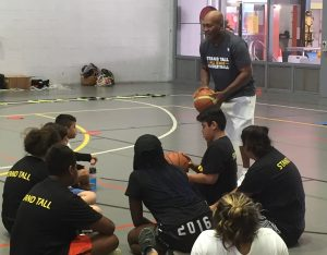 Cal'The Black Pearl' Bruton sharing tips on life on and off the court at the Stand Tall program in Redfern.