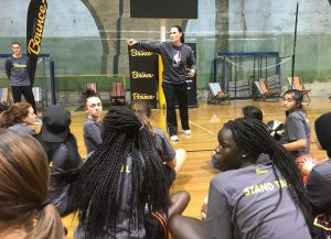 NBA Global Director Jennifer Azzi inspiring the young women to believe in themselves and keep a focus on their vision for the future.