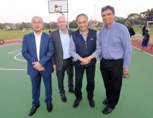 Charity Bounce CEO, Ian Heininger with Randwick Mayor Noel D'Souza, Councillor Ted Seng, and Gary Ella at the court opening.