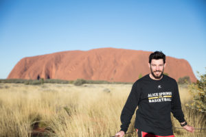 Kevin White on the way to meet the Mutijulu community who are the caretakers of Uluru.