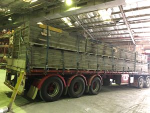The court is loaded onto a double semi ready to go to Central Australia. We will meet the truck in APY Lands soon.