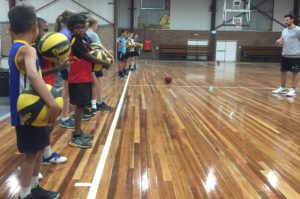 Adelaide 36ers player Kevin White running the Stand Tall clinic in Alice Springs