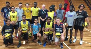 Rob Beveridge and Kevin White working with young men in Alice Springs for the Stand Tall Elite Clinic.