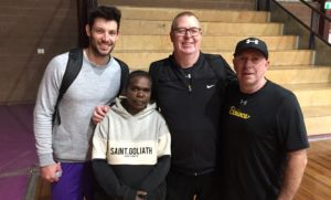 Coach Ruby from Indulkana with International coach Rob Beveridge, Adelaide 36ers player Kevin White, and Bounce CEO Ian Heininger.
